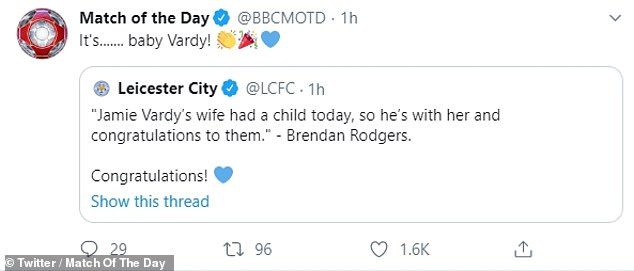 Jokers: Dozens of people, including the Match of The Day Twitter account, shared the family's happy news by referencingColeen's accusations and line of 'it's .... Rebekah Vardy's account'