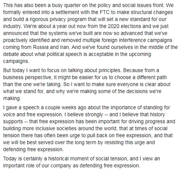 Mark Zuckerberg posted on Facebook after his conference call to reiterate the importance of 'free expression' in relation to the upcoming US presidential election next year. He also claimed the company had removed multiple foreign interference campaigns from Iran and Russia