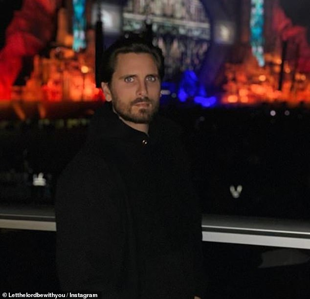 Bidding farewell: Disick closed out the trip with a photo of himself in front of the colorfully-lit stage before heading home for the holidays