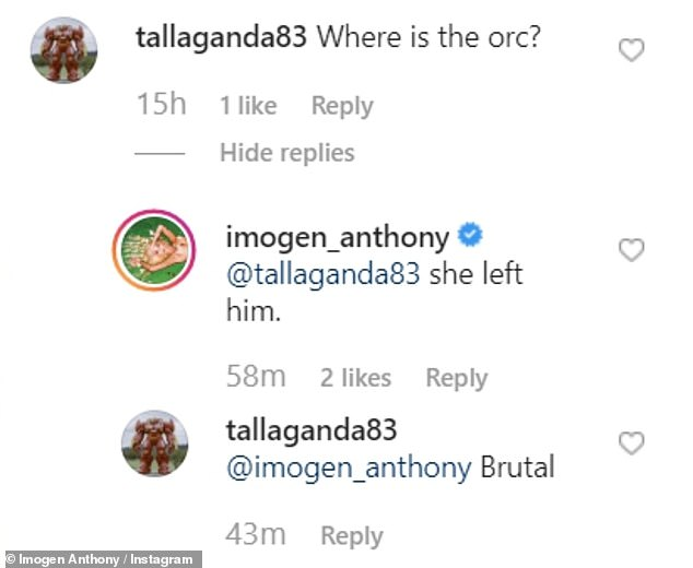 Hmm! Taking to Instagram on Sunday, the 28-year-old model shared a series of sultry videos of herself using an elf filter.After one of her followers commented below the post, 'Where is the orc?', Imogen offered a rather surprising response: 'She left him'