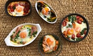 Five variations of restorative baked eggs