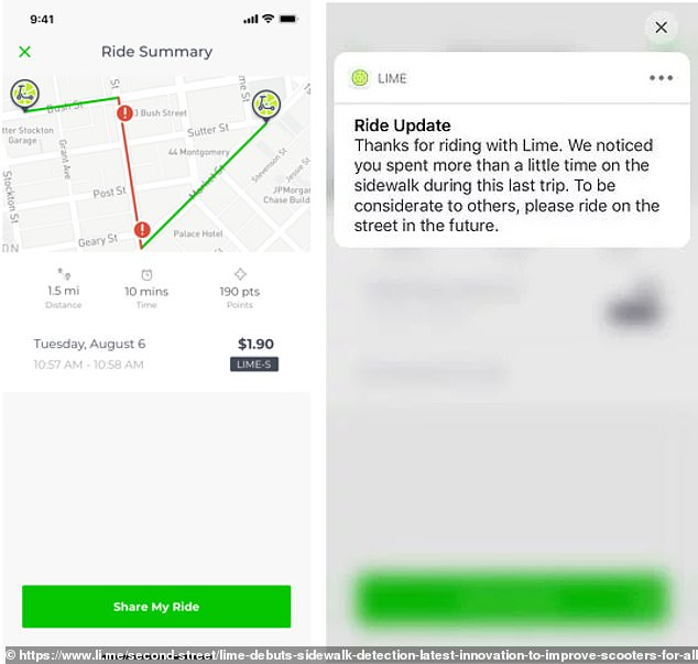 On the left is a picture showing how Lime may send riders a map of where they veered off course. On the right is a sample notification of how Lime will urge riders to ride on the street