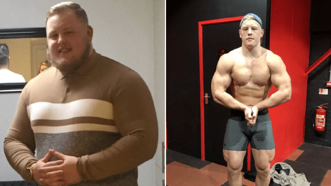 Brandon who piled on the pounds after copying Instagram bodybuilders pictured before and after