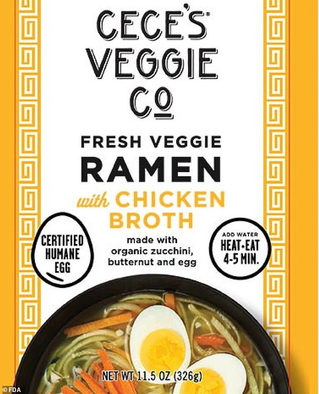 Veggie Noodle Co is the latest company to recall its product (pictured) because it is made with hard-boiled eggs that have been implicated in a multi-state outbreak that has killed one and sickened six others