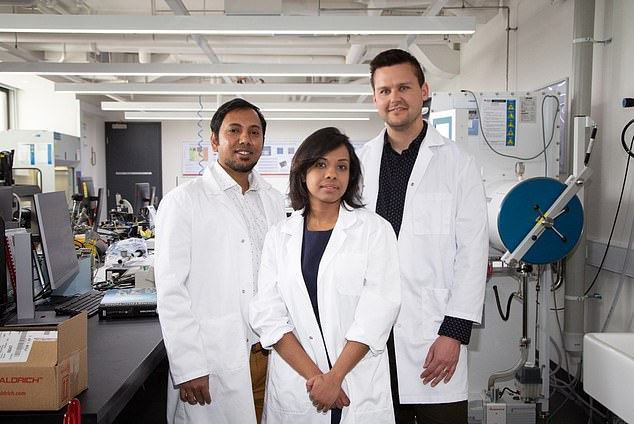 The research team that created the new material, from left to right, Dr Robi Datta, Dr Torben Daeneke and Dr Nitu Syed at RMIT, Melbourne, Australia