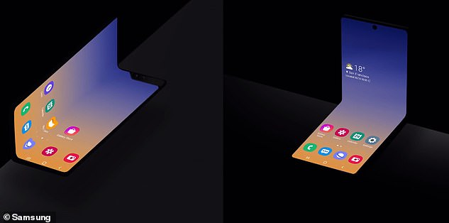 On the left is an image of how Samsung's current Galaxy Fold collapses while a picture on the right shows an unnamed device that folds vertically