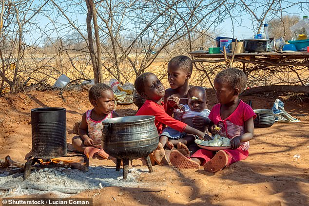 Scientists studying La Niña's link to killer diarrhoea in children under five found rates soared by a third in a region of Botswana worst-hit by flooding (pictured, children playing and eating in Botswana)