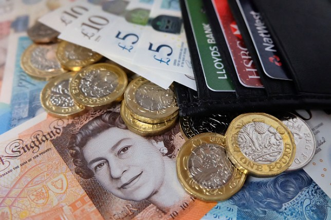 british pounds and bank cards