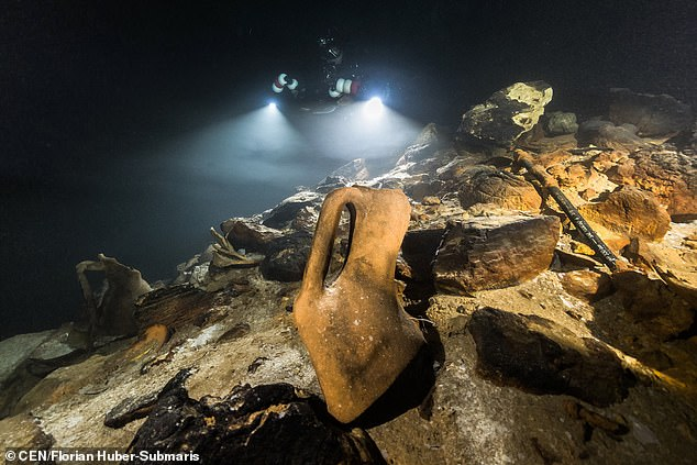Around 200 Ancient Roman amphora have been discovered in an underwater cave off of the coast of Majorca — in the first dive down there in 20 years
