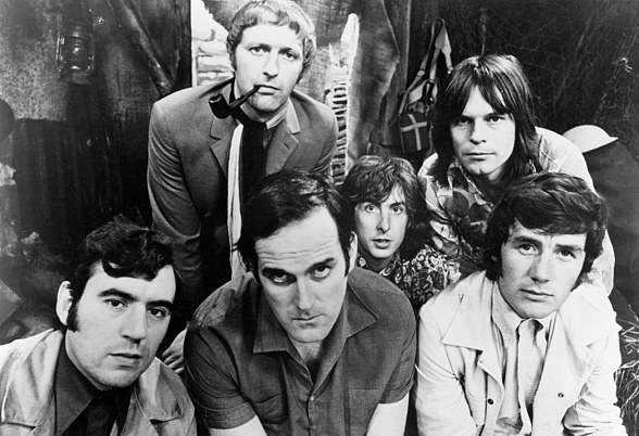 The six members of the Monty Python team in 1969. Left to right: Terry Jones, Graham Chapman (who died in 1989), John Cleese, Eric Idle, Terry Gilliam and Michael Palin