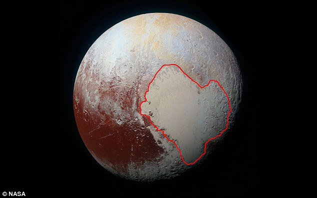Pluto's heart (outlined in red) may have once tipped the whole world over. And today, the enormous impact basin may still be slowly shifting Pluto's position