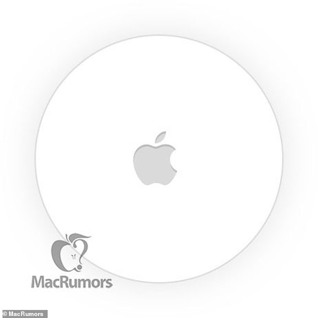 Apple is expected to unveil a new iPad Pro, AirPods and AirTags on March 23. AirTags are Apple's rumoured tracking system for the 'Find My' app. Each will be small, circular and made to be attached to everyday items (pictured here in supposed leak previously published by MacRumors)