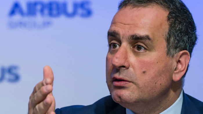 (FILES) This file photo taken on February 27, 2015 shows Marwan Lahoud, chief strategy officer of European aerospace giant Airbus, speaking during the company's annual press conference in Munich, southern Germany. Lahoud will leave Airbus Group at the end of February 2017, the European manufacturer announced on February 7, 2017 in a statement. / AFP PHOTO / GUENTER SCHIFFMANNGUENTER SCHIFFMANN/AFP/Getty Images
