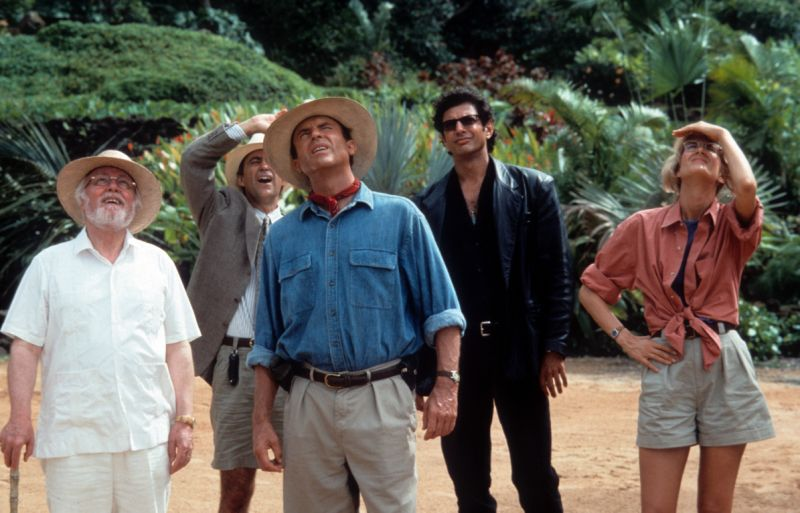 From left to right, Richard Attenborough, Martin Ferrero, Sam Neill, Jeff Goldblum and Laura Dern look up in a scene from the film 'Jurassic Park', 1993. (Photo by Universal/Getty Images)