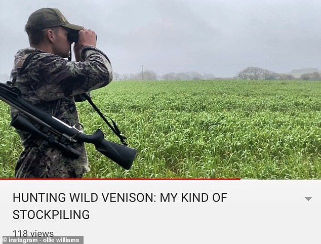 Shock!Ollie Williams, 23 - who denied he is a trophy hunter - shocked fans on Thursday by taking to social video with a video of himself shooting a deer and boasting about his kill