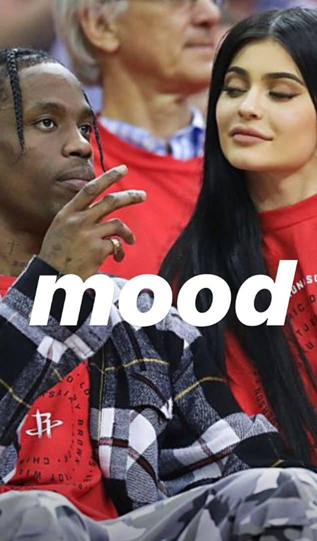 Mood: She also posted a series of throwback photos to her story of herself and Scott getting cozy at the 2017 NBA Playoffs, writing: 'It's a mood'