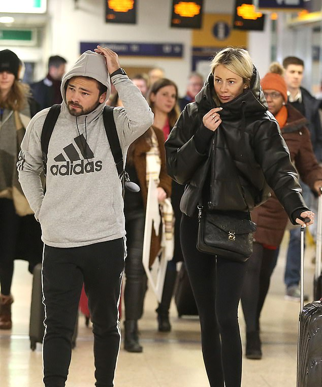 Looking good:Meanwhile, Bradley also decided on a relaxed outfit as he rocked a grey Adidas hoodie with a pair of tracksuit bottoms and trainers