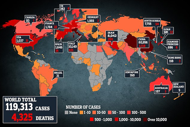A map showing the latest virus cases around the world, with Italy now recording the highest number of cases outside mainland China