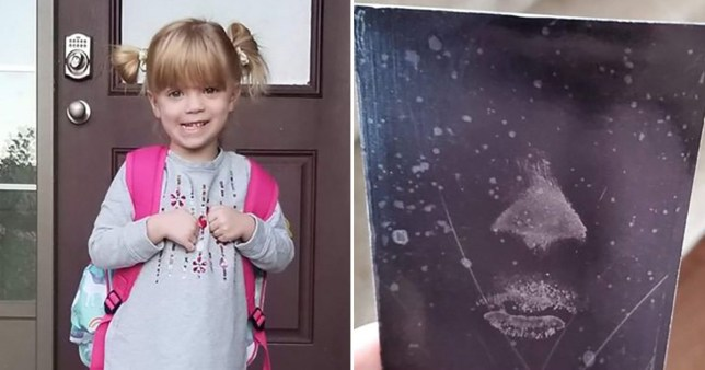 Jillian Caslick, four, (left) and the face print left she left behind on the window which has been preserved by a forensic officer for London Police, Ontario, Canada