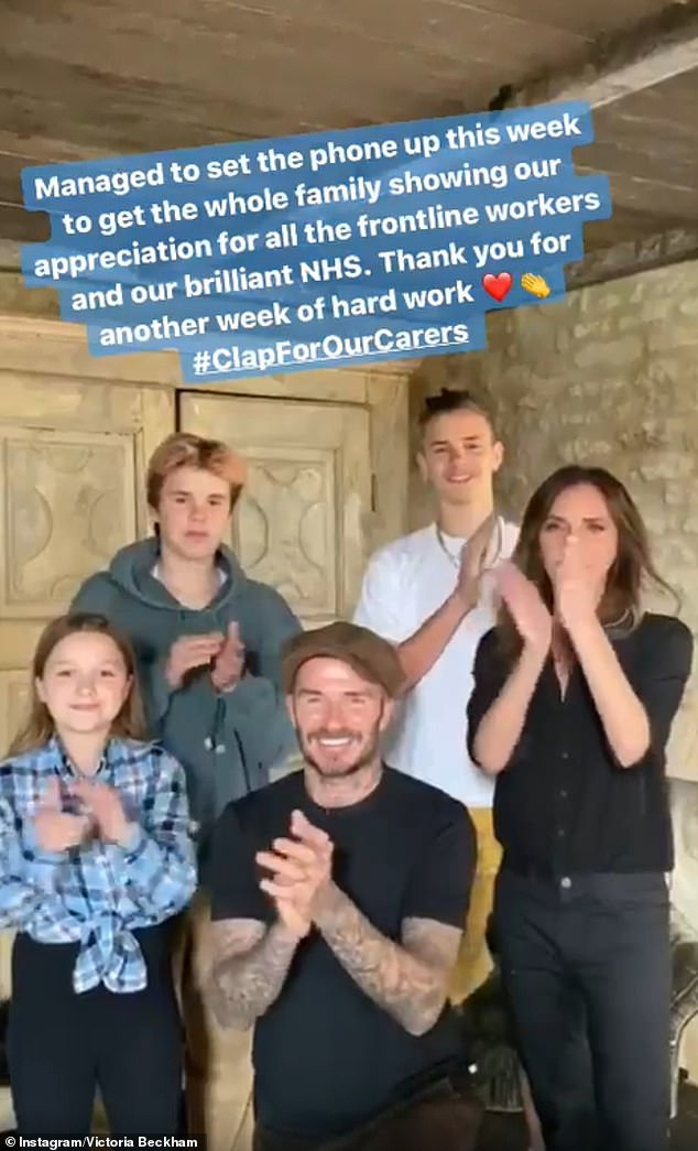 The Beckhams join in with the clap for carers event this evening, as millions of Brits thanks the NHS and key workers