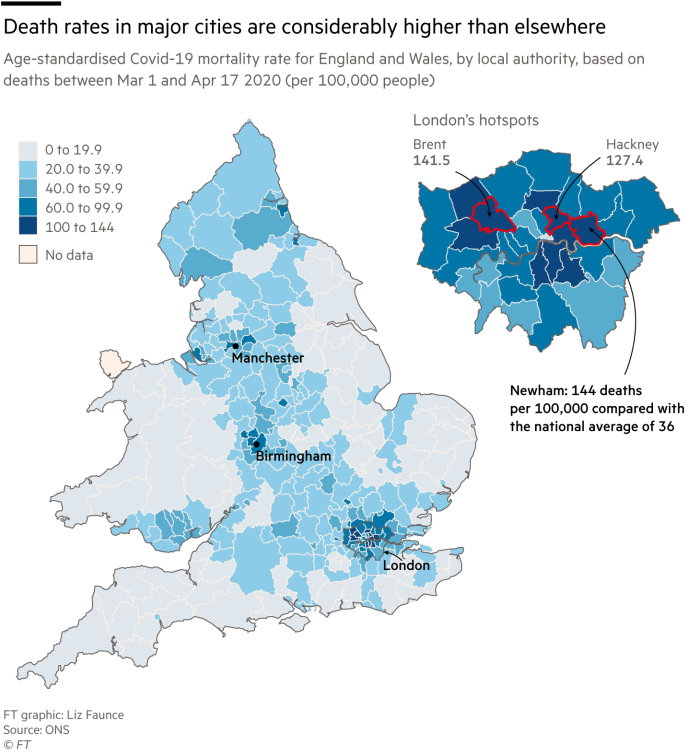 Map showing death rates in major cities are considerably higher than elsewhere and showing close up of London boroughs map
