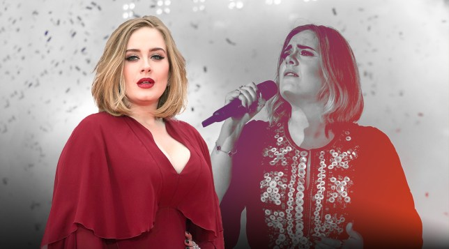 Adele pictured on red carpet alongside picture of Adele performing at Glastonbury