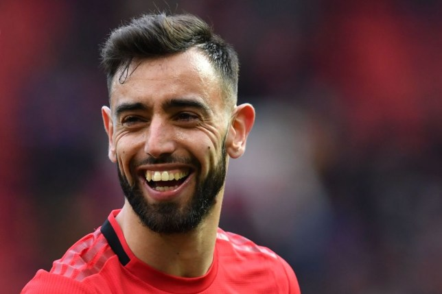 Bruno Fernandes all smiles during Manchester United's Premier League clash