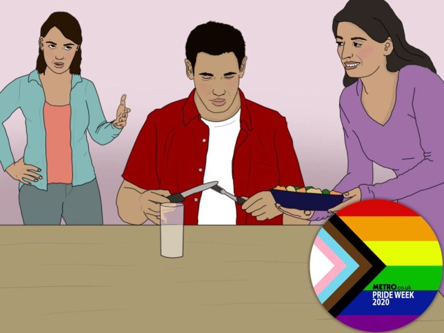 A an illustration of a man at the table with one woman serving him food and another woman looking disapproving in the background