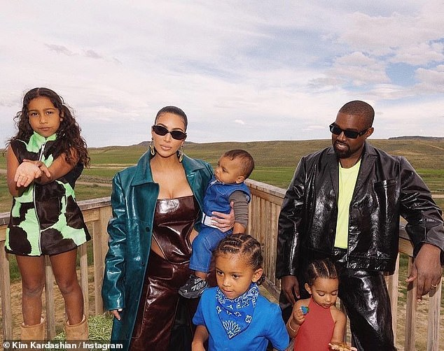 Family man: Kim Kardashian called father of four Kanye West 'the best dad' in a Father's Day tribute on Sunday