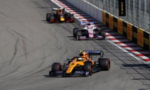 Norris takes a corner in last year's Russian Grand Prix