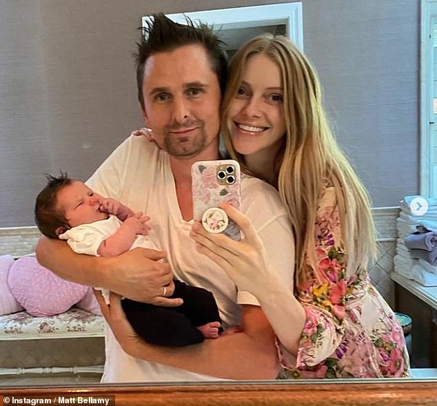 Sweet: Matthew Bellamy and his wife Elle announced they've welcomed their first child together on Saturday, a baby girl named Lovella Dawn