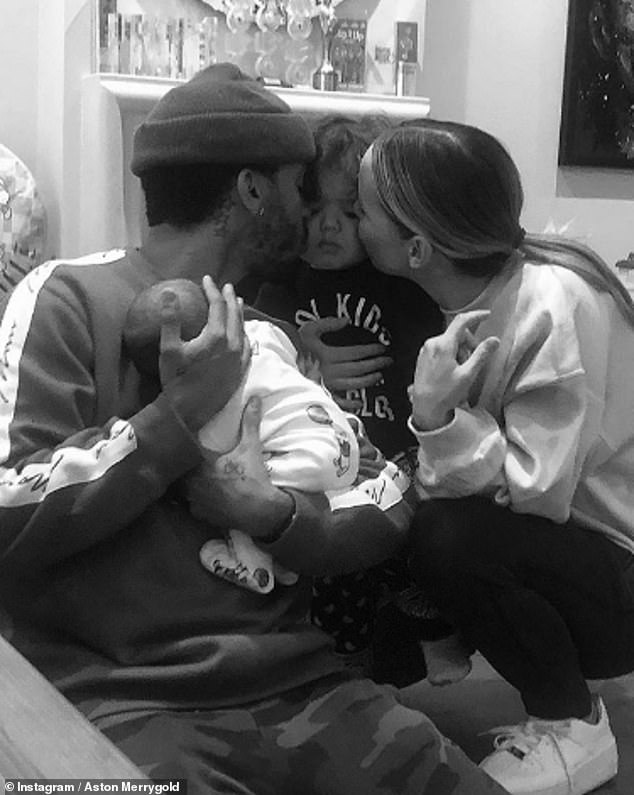 'The perfect four': Last month Aston and Sarah Lou shared the first photo of their newborn son Macaulay Shay (also pictured with eldest sonGrayson Jax, two)