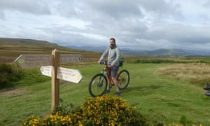 Dixe on a cycle trail above Ullswater.
