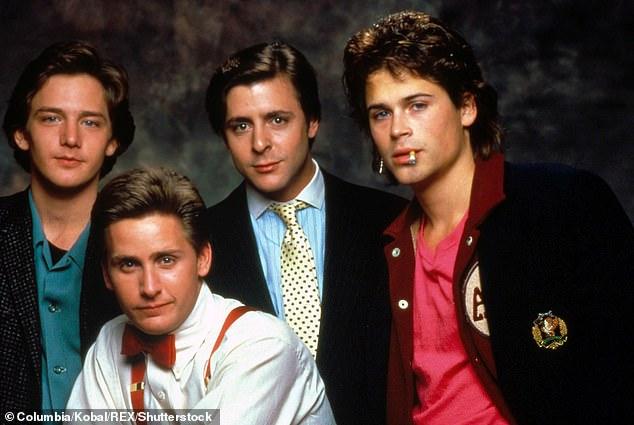 Classic cinema: Andrew McCarthy, Emilio Estevez, Judd Nelson, Rob Lowe St Elmo's Fire (1985) directed by Joel Schumacher