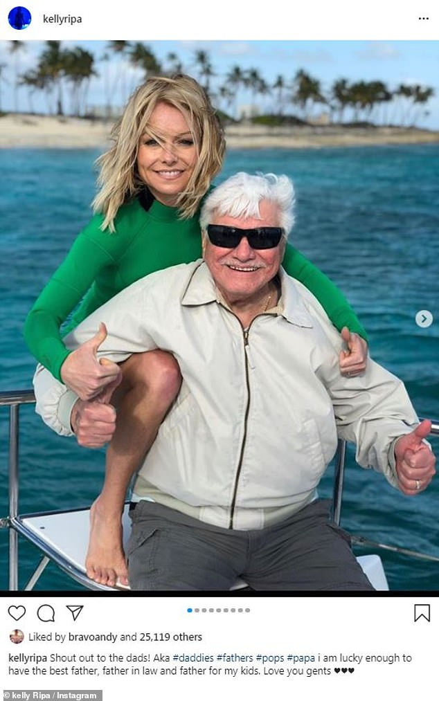 Terrific fathers:Kelly Ripa paid tribute to husband Mark Consuelos, her own dad Joseph and father-in-law Saul Consuelos with a carousel of cool photos