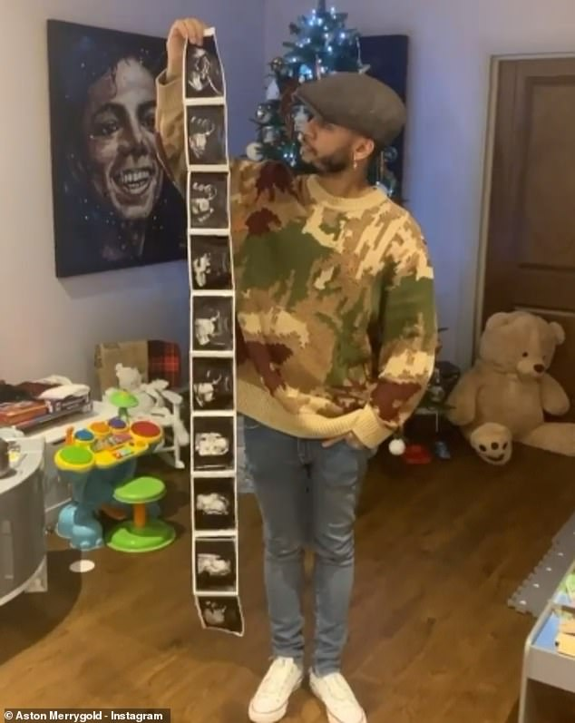 Daddy again: Aston and Sarah announced in December they were expecting their second child, one year after his proposal (pictured)