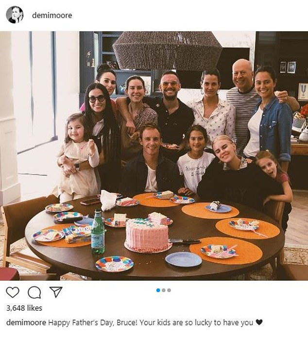 All together now!Demi Moore celebrated close pal and ex-husband Bruce Willis with a group photo of their big, blended family