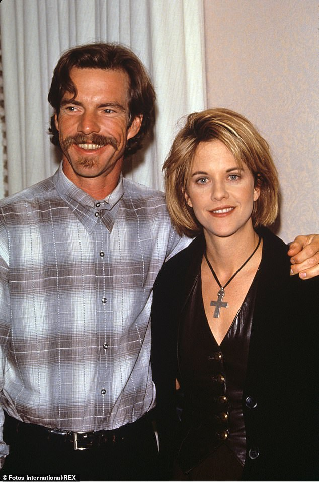 The way they were:He said I do's again on February 14, 1991 to actress Meg Ryan after they fell in love shooting D.O.A., their second film together; pictured in 1996
