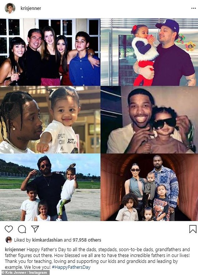 All kinds of dads: Momager Kris Jenner also shared some messages to men in her life