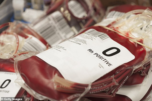 Researchers say this indicates a link between variations in the ABO gene, which determines blood type, and COVID-19. Pictured: Punches of donated blood in a hospital