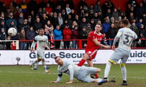 Accrington Stanley's Billy Kee shoots at goal in their FA Cup fourth round game against Derby County in January 2019.
