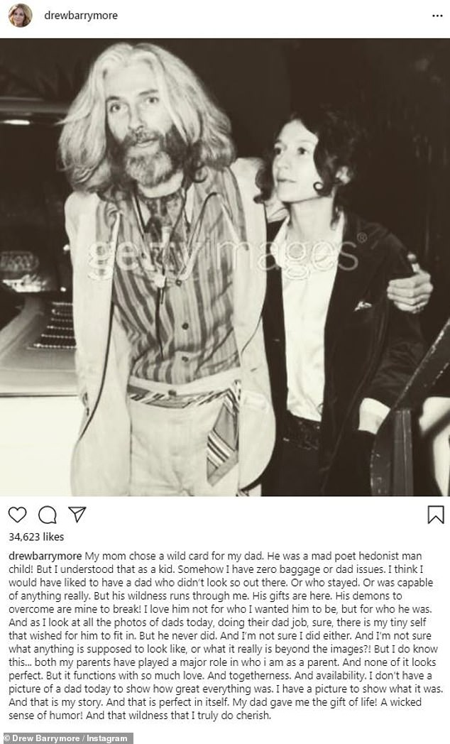 It's complicated:Drew Barrymore wrote about her complicated relationship with actor dad John Drew Barrymore along with a vintage photo of him and her mother Jaid