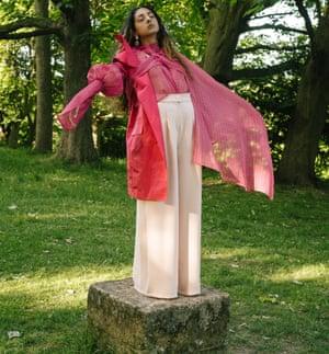 Fashion student Taz Dorodi's design, modelled by her friend Maryam Saira