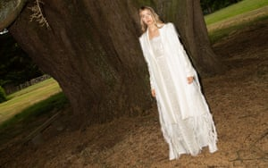 Fashion with busiess studies student Grace Blackman models her 'ice-olation' dress and coat