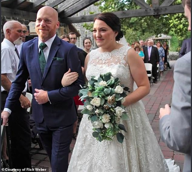 Cardiac amyloidosis occurs when protein byproducts are deposited in the heart and it's unable to properly circulate blood. Pictured: Weber walking his daughter down the aisle, September 2018