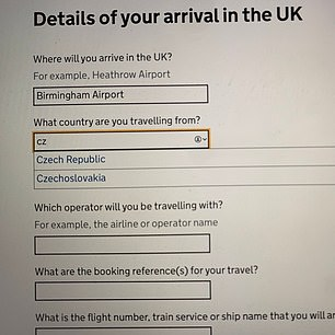 Those filling out the Home Office's website where able to claim they were from places such as Czechoslovakia and the USSR - both of which have not existed for almost three decades.