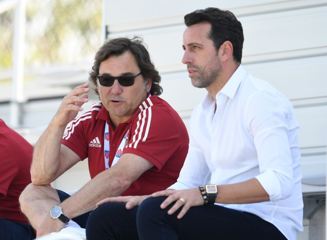 Raul Sanllehi and Edu in discussion during Arsenal's pre-season tour of the United States