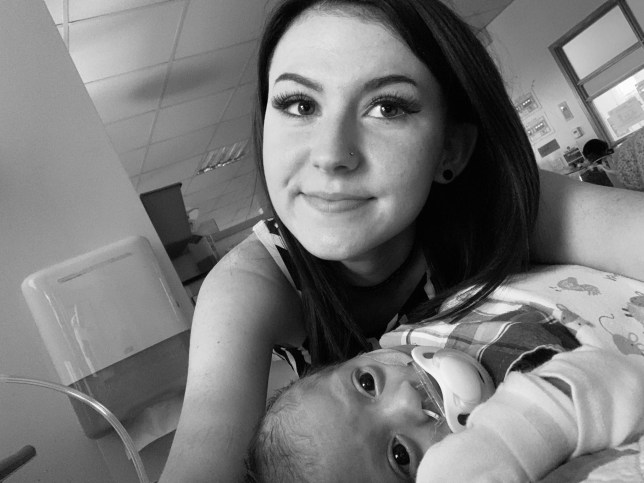 Kimmy Simper with her newborn son, Lucas
