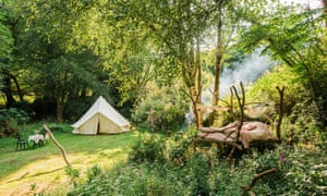 open air bed and emergency bell tent nearby