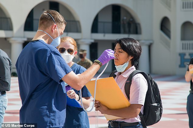 The US Navy is looking to recruit 3,500 18- and 19-year-old Marine recruits for its COVID-19 Health Action Response for Marines study. Pictured:A poolee is medically screened at The Citadel in Charleston, South Caroline, May 4,